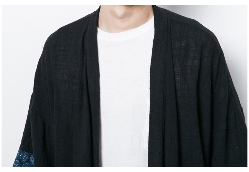 Aolamegs Men Shirts Chinese Style Trench Cardigan Coat Half Sleeve Plus Size Fashion Casual Solid color Male Cloak Black Coats (12)