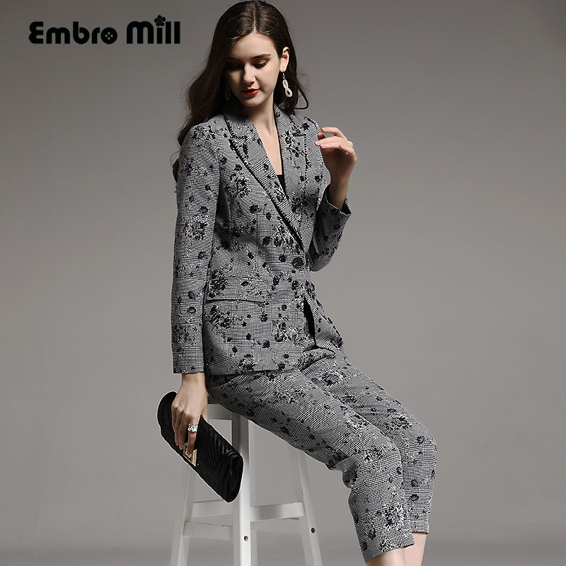 Haut de gamme automne hiver femmes Costume rayonne vintage floral mince perles manteau + veau-longueur pantalon 2 pièces dame ensemble femelle M-XXL