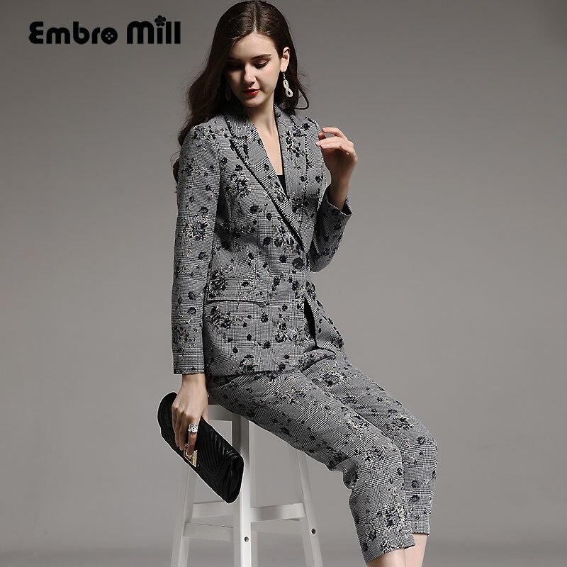 High-end di autunno di inverno delle donne del Vestito rayon floreale dell'annata sottile che borda il cappotto + vitello-lunghezza pantaloni 2 pezzi della signora set femminile M-XXL