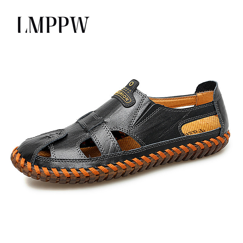 New 2019 Hollowed Men Sandals Summer Genuine Leather Casual Shoes Brand Design Beach Wading Water Handmade Slippers