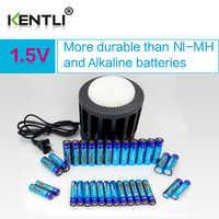 KENTLI Ultra low self-discharge 16-slot polymer li-ion lithium batteries charger + 16 pcs PLIB li-ionAA / AAA battery