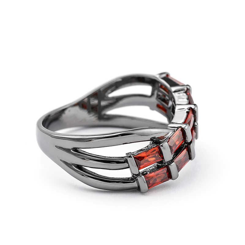 2018 แหวนสำหรับเครื่องประดับปืนสีดำ/เงินออสเตรียคริสตัลแหวน feminino Anel Aneis bijoux Freeshipping