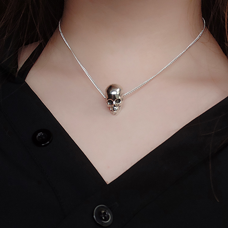 Punk Rock Style Skull Pendant Necklaces 925 Silver Jewerly Vintage Skull Personalized Chokers Necklaces For Women Luxury Jewelry