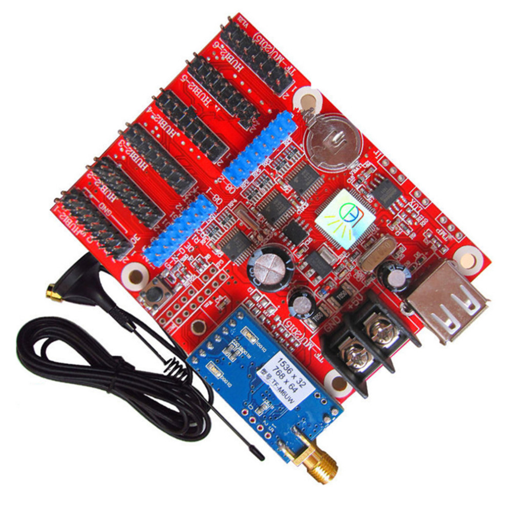Cheap TF-M6UW Control Card Supports Indoor Outdoor LED Sign Module WIFI And USB Drive Temperature And Humidity Sensor Connection