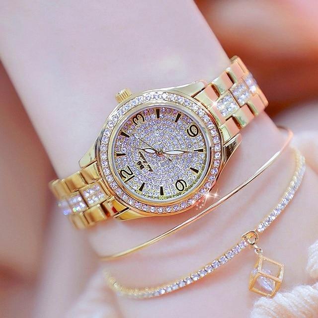Hot Sale Digital Dial Women Watches Import Quartz Watches Full Steel Ladies Dres
