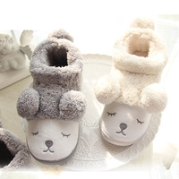 Cute Cartoon Bear Winter Women Men Couples Warm Plush Home Slippers For Indoor House Bedroom Plush