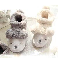 Cute Cartoon Bear Winter Women Men Couples Warm Plush Home Slippers For Indoor House Bedroom Plush