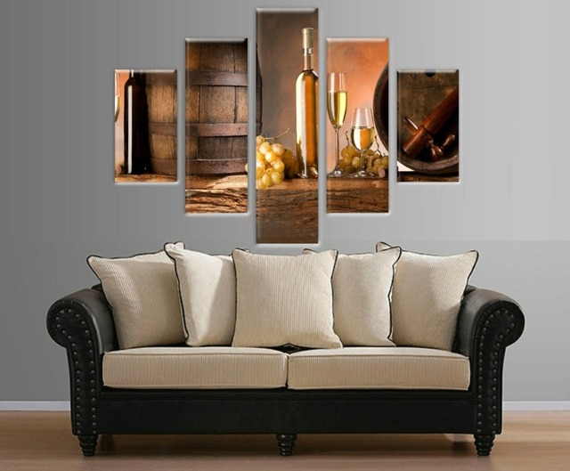5 Pieces Multi Panel Wine Glass Picture Printed on Canvas Wall Art ...