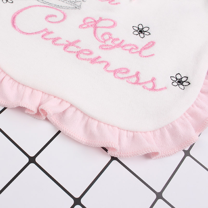 10Lace Baby Girl Cotton Bibs Double Layer Absorption Infant Saliva Towel Embroidery Crown Letter Sweet Newborn Girl Burp Cloth