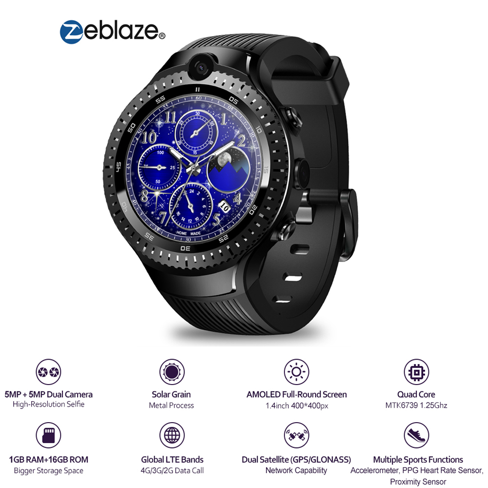 New Zeblaze THOR 4 Dual 4G SmartWatch 1.4 AOMLED Display GPS/GLONASS 16GB 5.0MP+5.0MP Dual Camera Android Watch Men Smart Watch