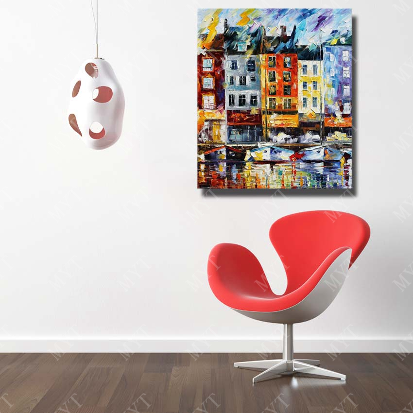 Modern building city scenery wall art painting used for home sense decor high quality canvas art painting in painting calligraphy from home garden on