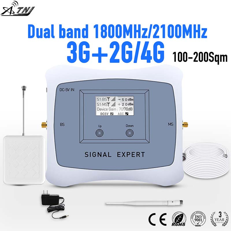 Full Smart DUAL BAND 2G 3G 4G Mobile Signal Booster 1800/2100mhz 3g4g Cellular Signal Booster Cell Phone Repeater Amplifier Kit