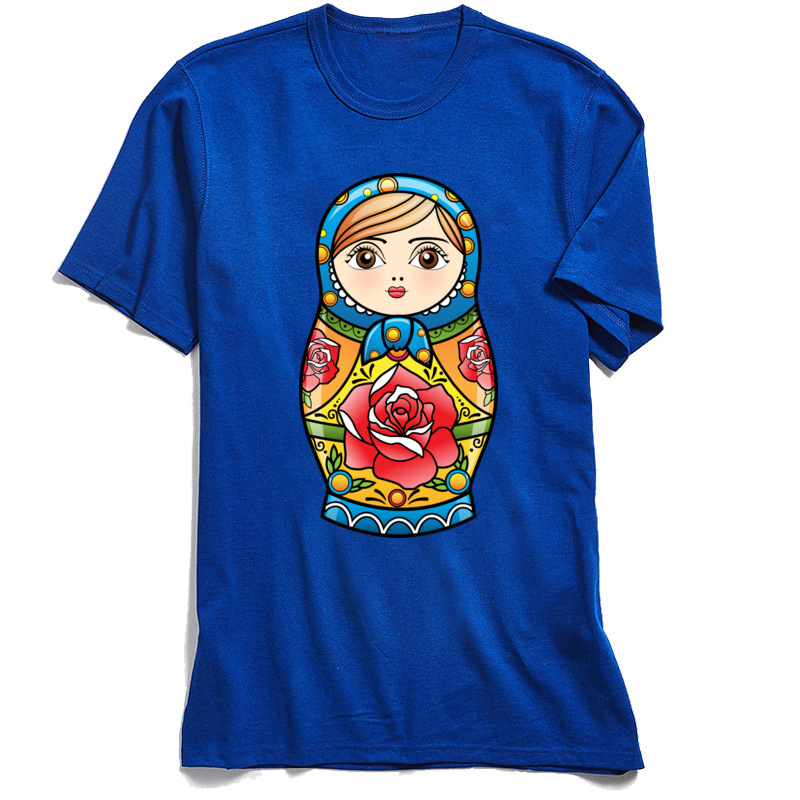 RUSSIAN NESTING DOLL Crew Neck Top T-shirts Summer Fall Leisure Tops T Shirt Short Sleeve New Design Pure Cotton Tshirts Mens RUSSIAN NESTING DOLL blue
