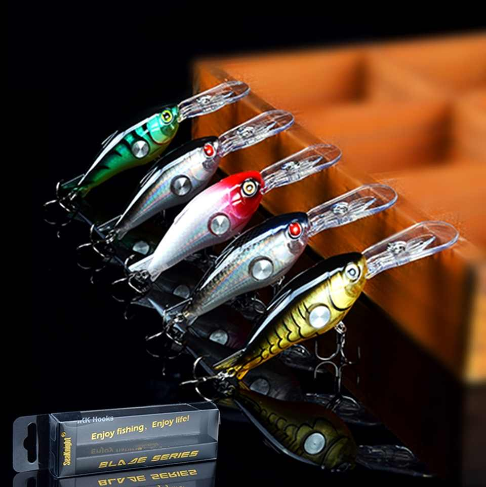 Three-dimensionalBait 3D Holographic Eye 5Pcs Hard Minnow Fishing Lure Crankbait Shallow Running Lip Design Best Hard Bait