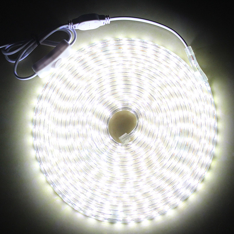 Led Strip Light IP68 Waterproof With ON/OFF Switch AC220V Flexible LED Light Strip 60 Leds/M Outdoor LED Ribbon Tape For Home