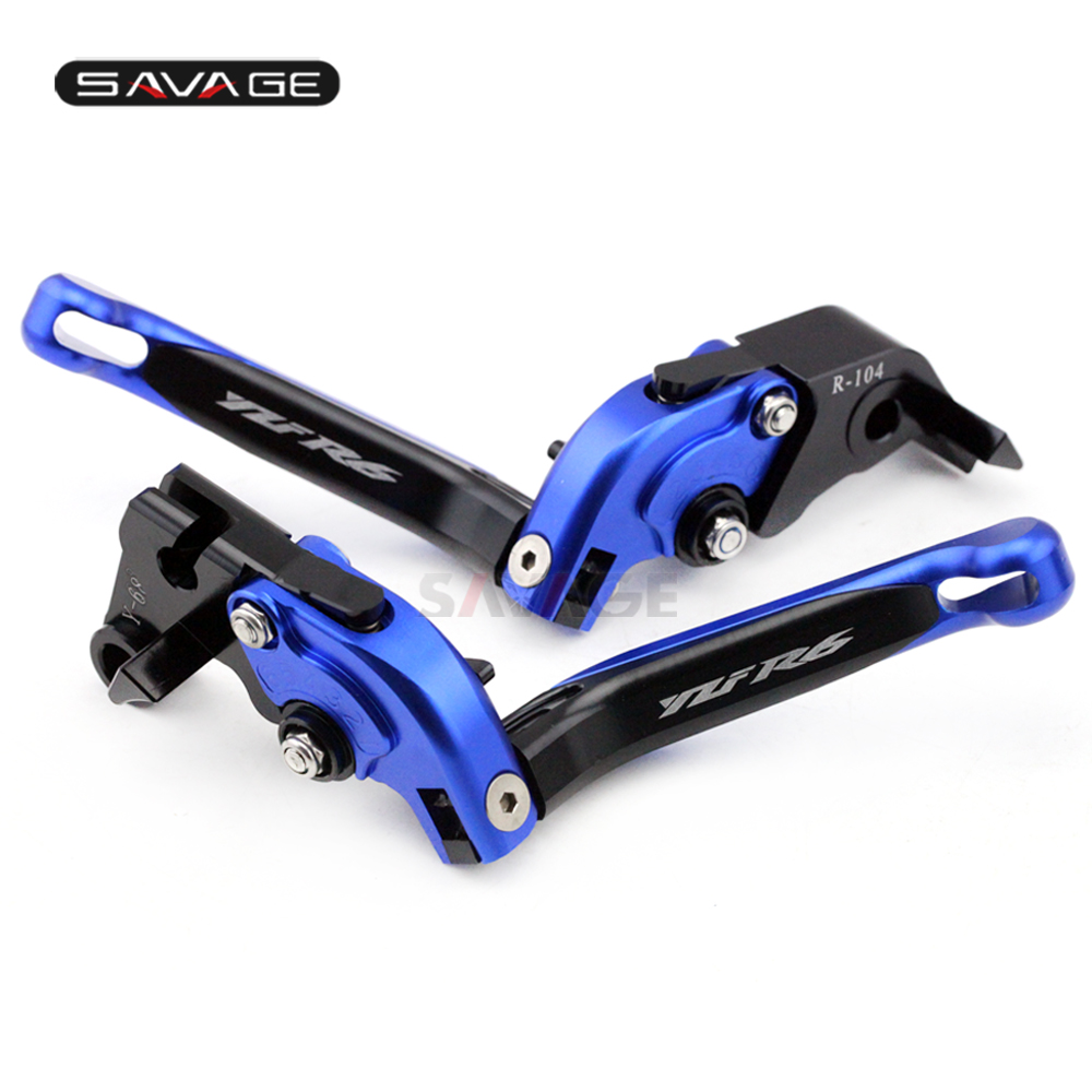 Brake Clutch Lever For YAMAHA YZFR6 YZF-R6 2005-2016 Blue+Black Motorcycle Accessories Folding Extendable logo YZF R6Brake Clutch Lever For YAMAHA YZFR6 YZF-R6 2005-2016 Blue+Black Motorcycle Accessories Folding Extendable logo YZF R6