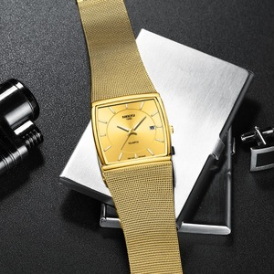 Image 4 - Nibosi marca de luxo relógios masculinos aço inoxidável malha banda quartzo esporte relógio cronógrafo masculino relógios de pulso relógio quadrado
