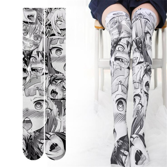 333598b6c Anime Thigh Highs Sock Caricature Cartoon Character Printing Bottoms  Cosplay Costumes Accessories Drooling girl velvet Stocking