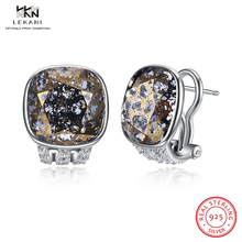 LEKANI Crystals From Swarovski Clip Earrings 925 Unique Crystal High-End Sterling Silver Ear Womens boutique Gift