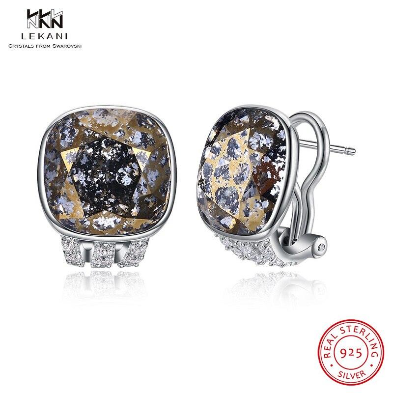 LEKANI cristaux de Swarovski Clip boucles d'oreilles 925 Unique cristal haut de gamme en argent Sterling oreille Clip boucles d'oreilles femmes boutique cadeau