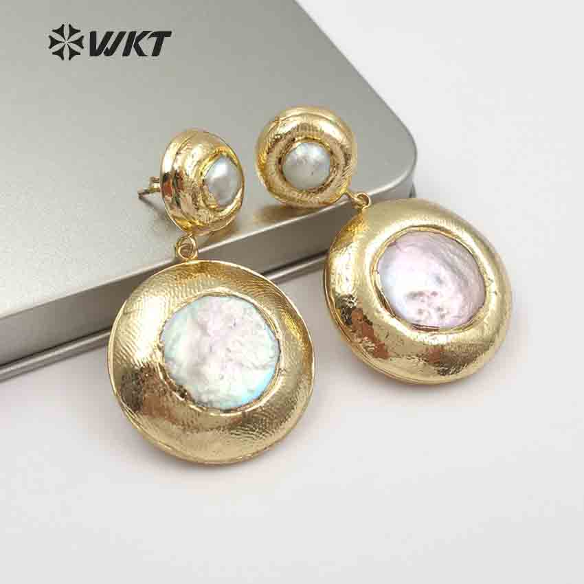 WT E469 WKT Fashion Small And Cute Round Metal Wrapped Size Pearl Accessories Earrings
