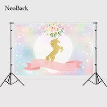Фотография NeoBack 7x5ft Vinyl Bokeh Sequins Photography Backdrops Moon Sky Unicorn Ribbon Flowers Baby Birthday Shower Party Backgrounds