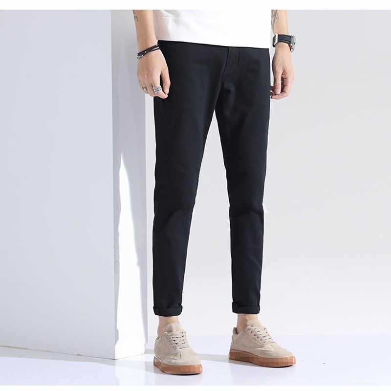 Специальный заказ, тонкие джинсы с дырками для молодых людей, мужские классические рваные джинсовые штаны в байкерском стиле, весенне-летние мужские уличные брюки
