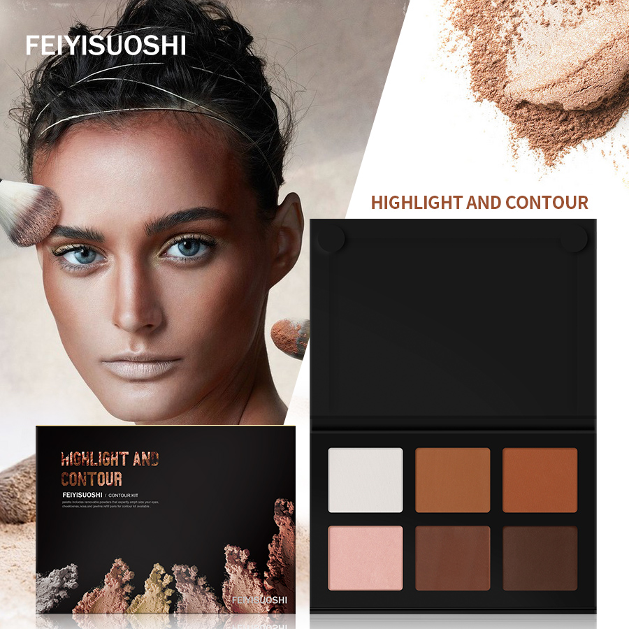 FEIYISUOSHI 6 Colors Pro Light Medium Contour Kit Bronze Glow Pressed Powder Palette Highlighter Bronzer Contouring Makep Set цена 2017