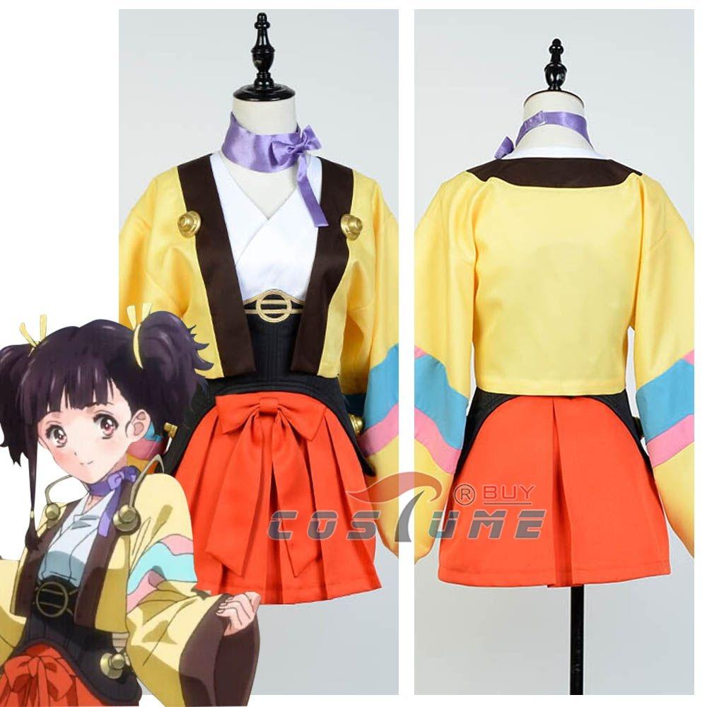 2016 Kabaneri of the Iron Fortress / Koutetsujou no Kabaneri Mumei Yukata Kimono Robe Cosplay Costume For Women Girls