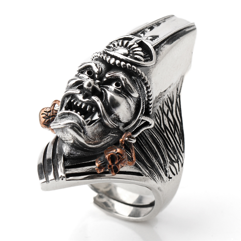Real 925 Sterling Silver Men Ring Ferocious Face Vintage Adjustable Ring for Men Silver Fashion Jewelry