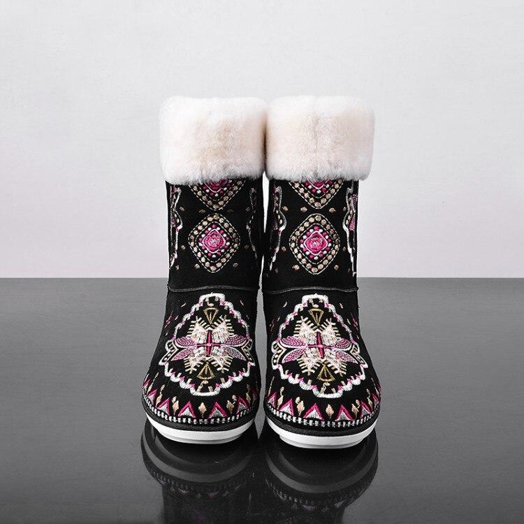 D'hiver Suede Appartements Mujer Dames Neige Botines En Chaussures Courts Noir Femme Mode Bottillons Bottes Caoutchouc Femmes Broder Bottine SH5XFYqww