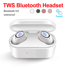 Stereo Sound Bluetooth V5.0 Earphone Portable TWS Wireless Touch Earbud With Charge Case Sport Bass Headset Auto Power On/Off