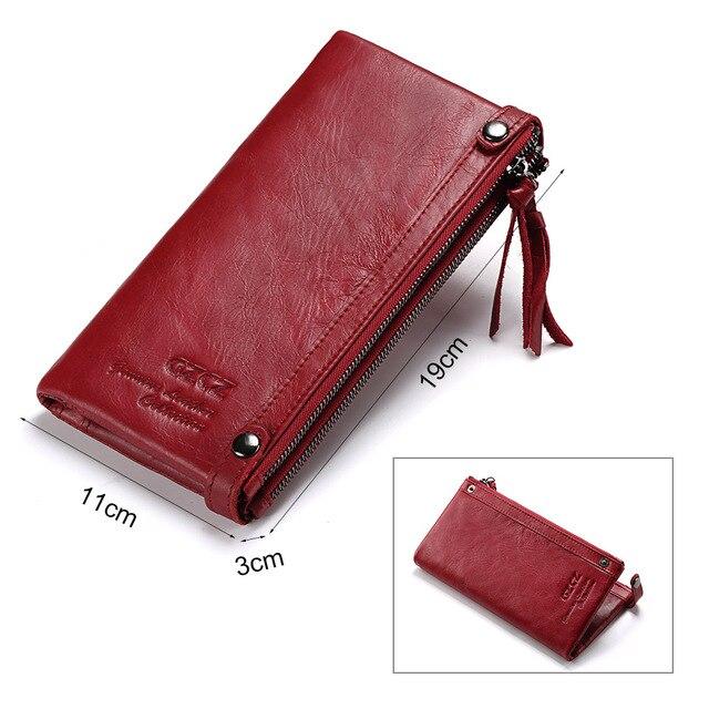 GZCZ en cuir véritable femmes Long portefeuille femme fermeture éclair pince pour argent pochette porte-monnaie porte-carte Portomonee petit Vallet