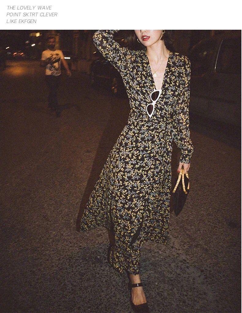 ผู้หญิงพิมพ์ดอกไม้ Maxi Wrap Dress แขนยาว V คอยาว Slim Dress-ใน ชุดเดรส จาก เสื้อผ้าสตรี บน   2