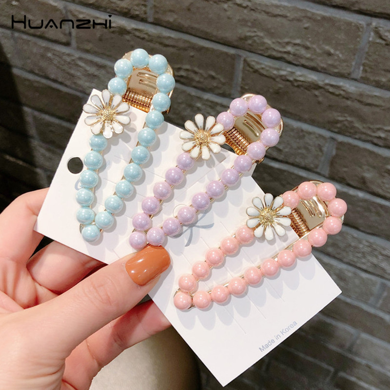 HZ 2019 New Colorful Beads Hair Clips Flower Hollow Waterdrop Barrettes Metal Sweet Hair Grip Hairpin Hair Accessories For Women