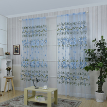 Limit buy Floral Print Tulle Voile Door Window Rom Curtain Drape Panel Sheer Scarf Blue Low & Rom doors online shopping-the world largest rom doors retail ... Pezcame.Com