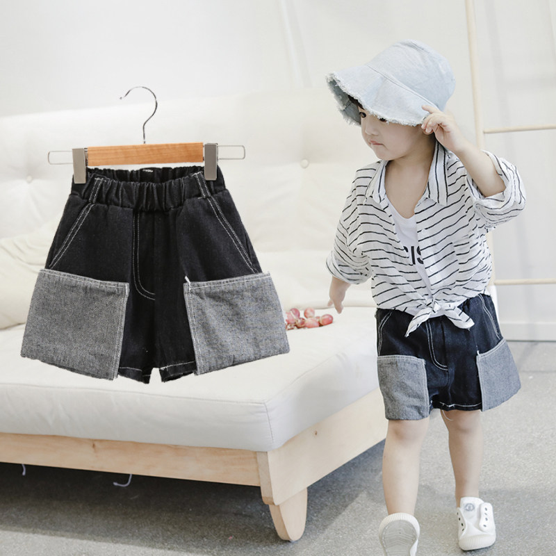 boys summer shorts denim shorts with big Pockets fashion jeans Sports and leisure all match Solid color wash Hit color pocket