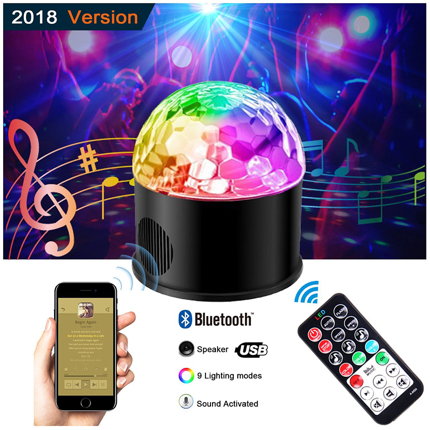 Disco Party Lights Bluetooth MP3 Speaker 9 Colors Sound Activated Rotating Led Stage Light for Home KTV DJ Dancing Birthday