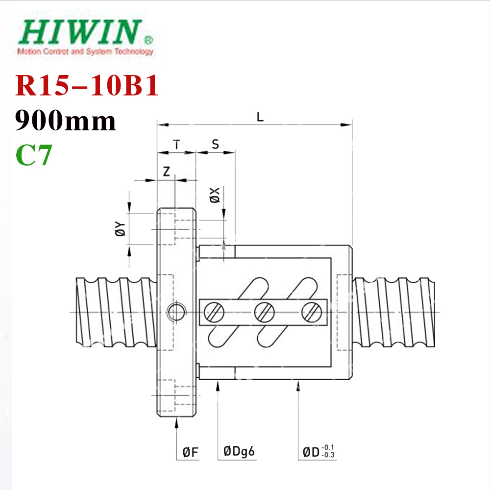 HIWIN 1510 900mm ballscrew 15mm dia 10mm pitch C7 with ball nut for high stability CNC 3d printer parts hiwin 1616 ballscrew 600mm c7 dia 16mm pitch with end machined and ball nut for cnc kit parts high speed