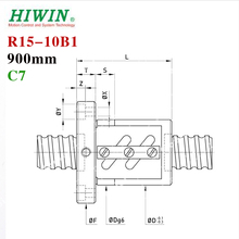 HIWIN 1510 900mm ballscrew 15mm dia 10mm pitch C7 with ball nut for high stability CNC 3d printer parts