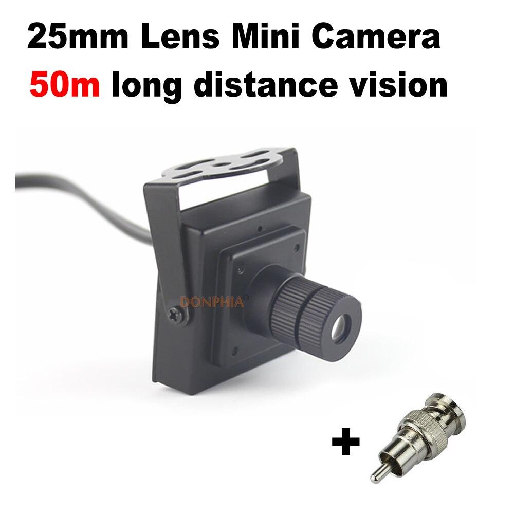 imágenes para 900TVL CCTV Mini Cámara 25mm Lente Larga Distancia Monitor de Ángulo de Visión de 10 grados de Mini Cámara de Vigilancia de Vídeo de Seguridad