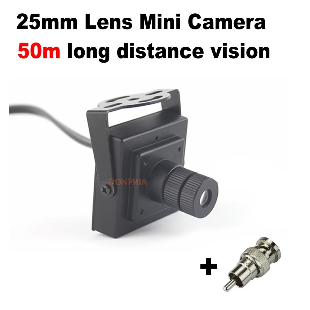 bilder für 900TVL Mini Cctv-kamera 25mm Objektiv Fern Monitor Blickwinkel 10 grad Sicherheit Mini Video Überwachungskamera