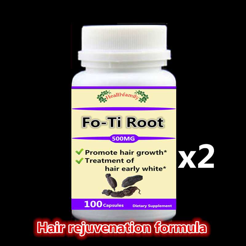 2 bottle 200pcs,Prevent and cure Hair loss,Fo-Ti Root supplement For Gray hair,Promote hair growth,Hair early white,He Shou Wu pure fo ti root extract powder fleece flower he shou wu hair growth and black hair anti aging enhance immunity free shipping