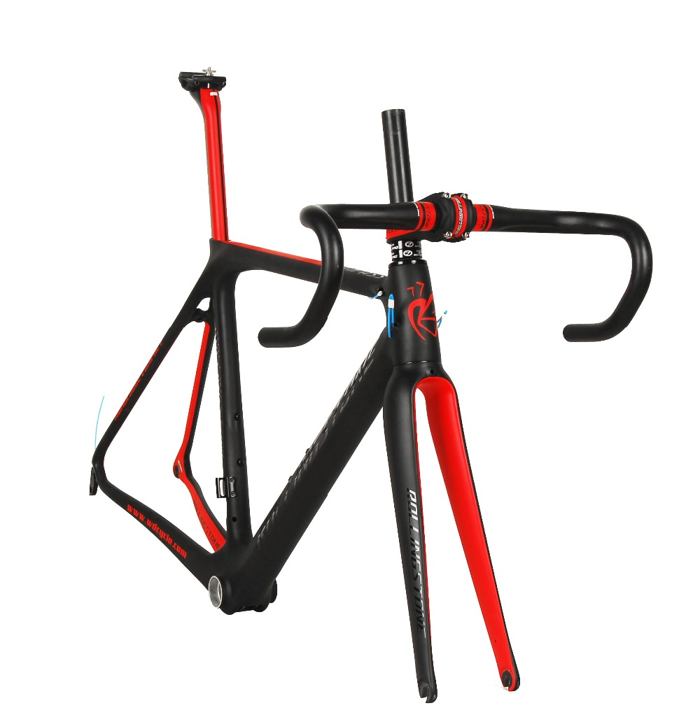 Rolling Stone Compass Road Carbon frame w/handle bar, stem, Seat post for Aero/Climbing 50 52 54cm black / red bicycle frame stone island compass logo crew neck black