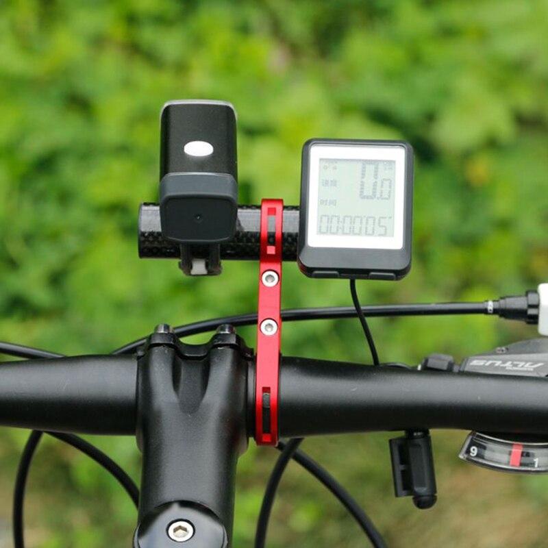 Купить с кэшбэком JoShock Bicycle Handlebar Extended 20cm Bracket Bike Headlight Holder Lantern Lamp Support Aluminum Alloy Fiber Stand