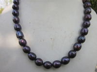 Free shipping@@@@@ A>real charming natural 11 13mm tahitian black pearl necklace 18 gold clasp k 6.07