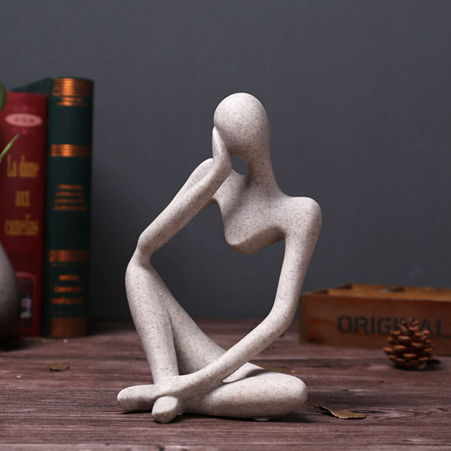 Modern European Style Resin Abstract Thinker Statue for Decoration Simple Sculpture Figurine Hotel Office Home Decor New 4