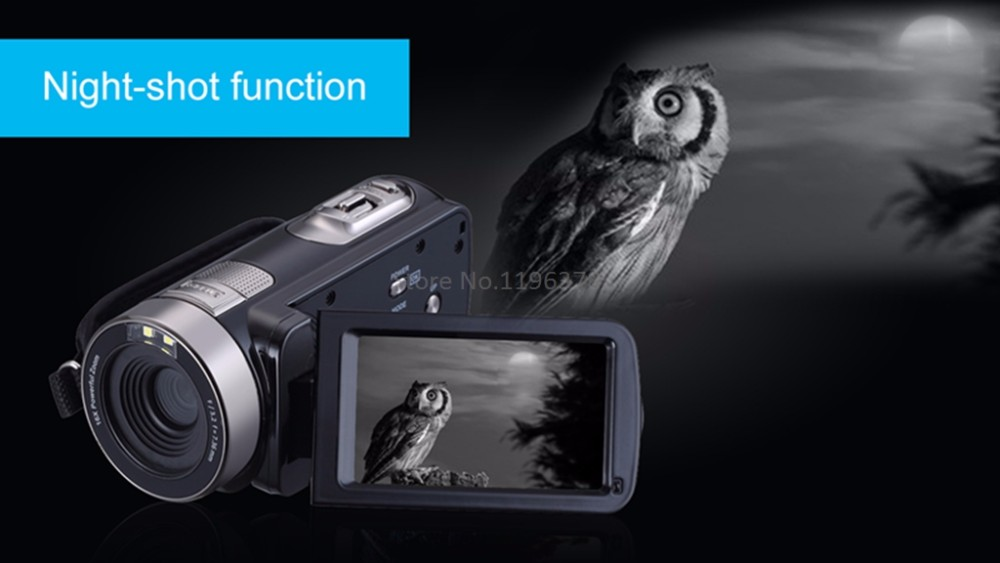 Marvie HDV-301 FHD 1080P Digital Video Camera Camcorder Night Vision Wide Angle Macro Fisheye Shooting 24MP 3 Inch Screen 9