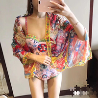 Svoryxiu 2018 Designer Brands Bodysuits Women's Charming Floral Print Summer Beach Holiday Sexy Bodysuit Femme + Shawl