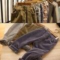 Vintage warm Plus pantalones de cachemir de otoño e invierno de los niños pantalones casuales de pana gruesa pantalones Harlan pantalones de algodón bebé